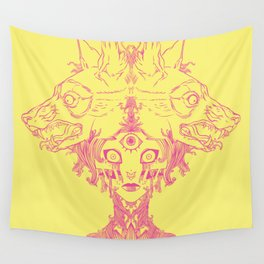 Voodoo Priestess Mambo With Third Eye And Wolves Surrealism Art Wall Tapestry