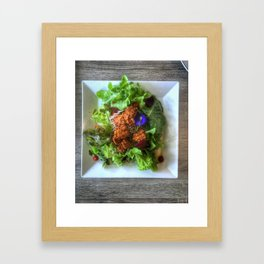 Top view shot photography of Organic  Chicken Karaage Salad with Japanese dressing and soba noodle. Framed Art Print