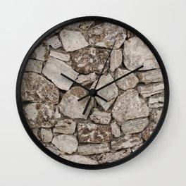 Old Rustic Stone Wall Wall Clock