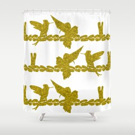 Gold Hummingbirds on Line Chatting Shower Curtain