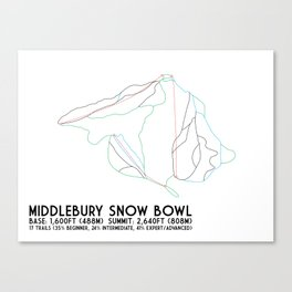 Middlebury Snow Bowl, VT - Minimalist Trail Art Canvas Print