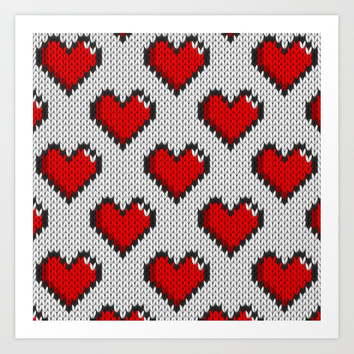 Knitted Heart Pattern White Art Print By Knittedcake Society60 Unique Knitted Heart Pattern