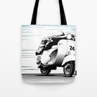racing Tote Bags featuring Racing by Don Paris Schlotman
