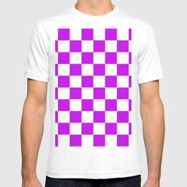 Cheerful Purple Checkerboard Pattern T-shirt