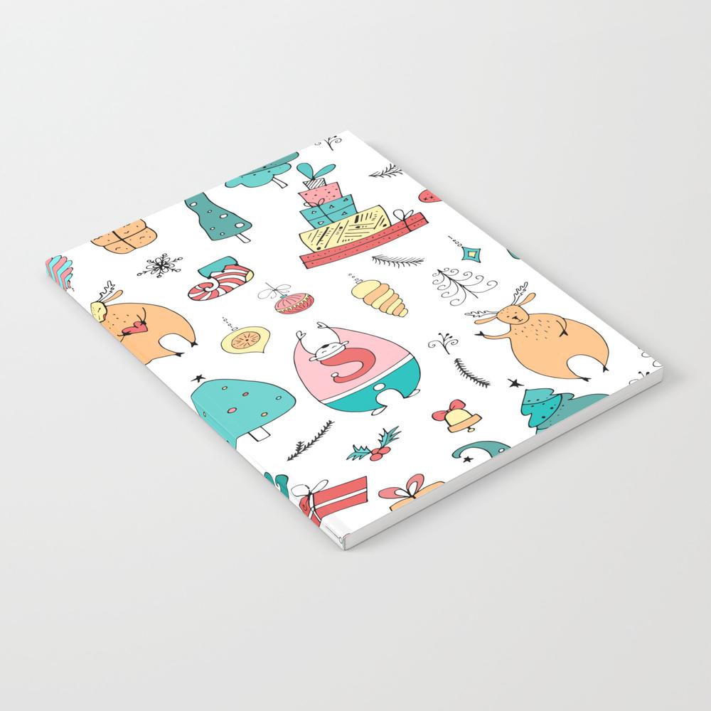 Cute Colorful Cartoon Christmas Animals Pattern Notebook by Artonwear NBK8325893