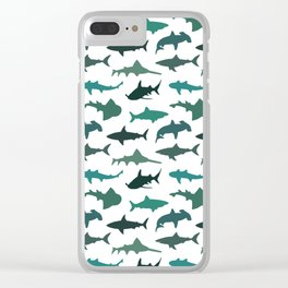 Green Sharks Clear iPhone Case