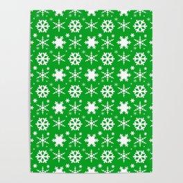Snowflakes Green Poster