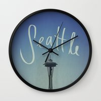 seattle Wall Clocks featuring Seattle by Leah Flores