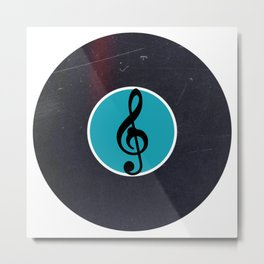 Vinyl Record Art & Design | G Clef | Musical Notes Metal Print