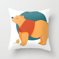 pooh Throw Pillows featuring Pooh Bear by Ray Elaine