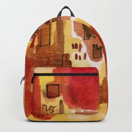 Red, Brown, and Yellow Abstract with Black Outlines Backpack