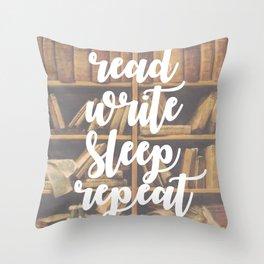 Read Write Sleep Repeat Throw Pillow