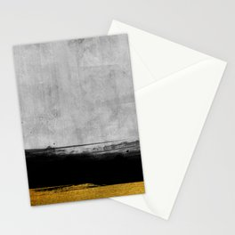 Black and Gold grunge stripes on modern grey concrete abstract backround I - Stripe - Striped Stationery Cards