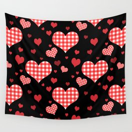 Red Gingham Hearts Wall Tapestry