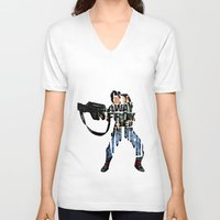 ripley V-neck T-shirts featuring Ellen Ripley from Alien by Ayse Deniz