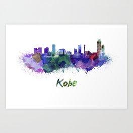 Kobe skyline in watercolor Art Print