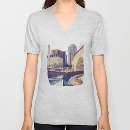Minneapolis, Minnesota Skyline Stone Arch Bridge Unisex V-Neck