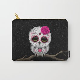 Adorable Pink Day of the Dead Sugar Skull Owl Carry-All Pouch