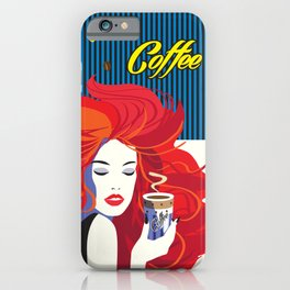 """""""Beautiful Fashion Woman and Coffee Cup"""" POP-ART poster, Retro, Design iPhone Case"""