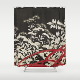 Kuro-tomesode with a Pair of Pheasants in Hiding (Japan, untouched kimono detail) Shower Curtain