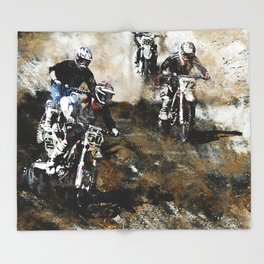 """Dare to Race"" Motocross Dirt-Bike Racers Throw Blanket"