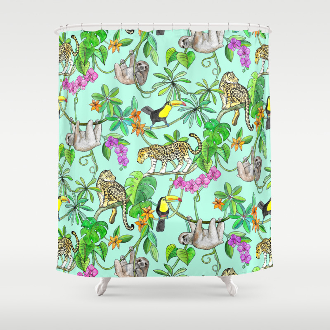 Orchid Shower Curtains Society - Mint green shower curtain