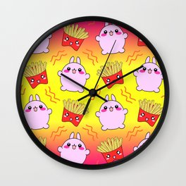 Cute sweet happy adorable Kawaii playful chubby baby bunnies, yummy happy funny French fries cartoon colorful sunny yellow pink pattern design. Favorite comfort food. Wall Clock
