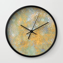 gold arabesque vintage geometric pattern Wall Clock