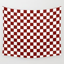 Vintage New England Shaker Barn Red and White Milk Paint Jumbo Square Checker Pattern Wall Tapestry