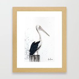Beach Pelican Framed Art Print