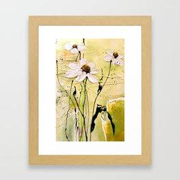 Green poesie floral painting Framed Art Print