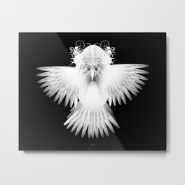 Strange Hummingbird-1.White on black background. Metal Print