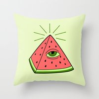 watermelon Throw Pillows featuring watermelon by gotoup