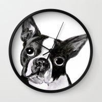 boston terrier Wall Clocks featuring Boston Terrier by Gooberella