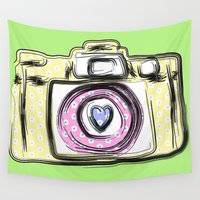 camera Wall Tapestries featuring Camera by Jessica Slater Design & Illustration