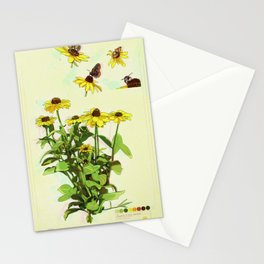 Black Eyed Susan and Her Pollinators Collection TRIPPY Stationery Cards