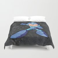 video game Duvet Covers featuring Mega Man classic, Retro video game. by Lewys Williams