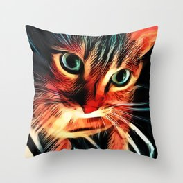 Cheshire Stripes Cat Throw Pillow