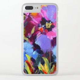 Wild Blue Poppy Garden Clear iPhone Case