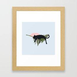 Sleeping Black Cat on Giant Palm Leaf Framed Art Print