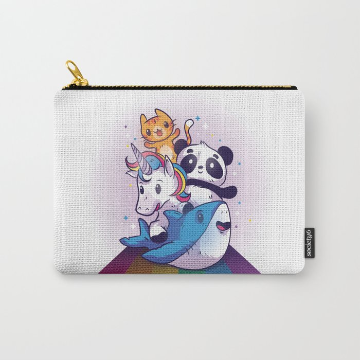 CUTE ANIMALS RIDING RAINBOW Carry-All Pouch
