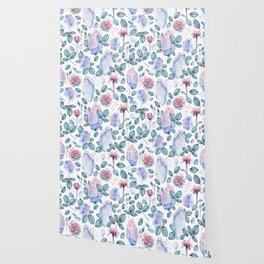 Watercolor crystal and rose leaves Wallpaper