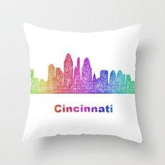 Rainbow Cincinnati skyline Throw Pillow
