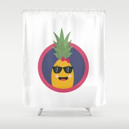 Cool pineapple with sunglasses Shower Curtain