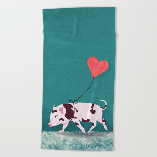 Baby Pig With Heart Balloon Beach Towel