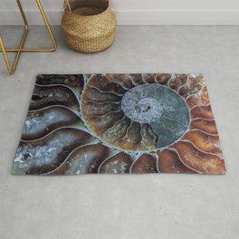Spiral Ammonite Fossil Rug