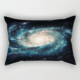 Ocean Blue Teal Spiral Galaxy Rectangular Pillow