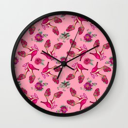 Poinsettia Dance Shoes, Christmas, Holidays, New Year Party Wall Clock