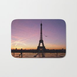 Eiffel Tower in a Pink Sunrise Bath Mat