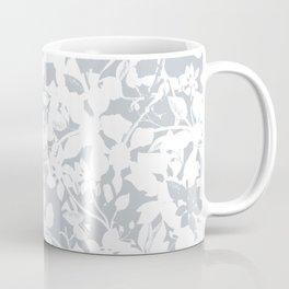 White and Grey Botanical Silhouette Pattern - Broken but Flourishing Coffee Mug